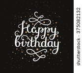 happy birthday card with hand... | Shutterstock . vector #375082132