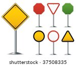 blank traffic sign set. easy to ...