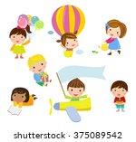 group of kids set | Shutterstock .eps vector #375089542