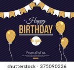 birthday card. happy birthday... | Shutterstock .eps vector #375090226