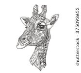 Hand Drawn Giraffe With Ethnic...