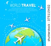 travel world map background in... | Shutterstock .eps vector #375115432