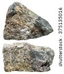 Small photo of macro shooting of natural mineral stone - two pieces of Arsenopyrite rock isolated on white background