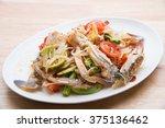 thai papaya salad hot and spicy ... | Shutterstock . vector #375136462