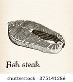 Fish Steak. Vector Engraving...