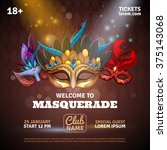 masquerade realistic poster... | Shutterstock .eps vector #375143068