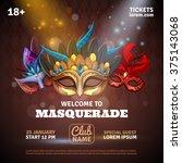 masquerade realistic poster... | Shutterstock .eps vector #375143068