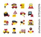car dealership flat decorative... | Shutterstock .eps vector #375143296