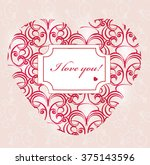 happy valentines day card in... | Shutterstock .eps vector #375143596