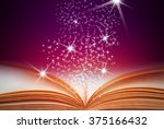 abstract magic book on wooden... | Shutterstock . vector #375166432