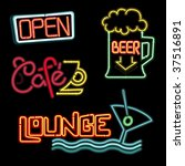 neon signs   vector collection | Shutterstock .eps vector #37516891