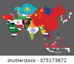 detailed map of asia with all... | Shutterstock .eps vector #375173872