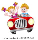 cartoon boy and girl having fun ... | Shutterstock .eps vector #375205342