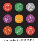 fruit and vegetables flat...   Shutterstock .eps vector #375225112