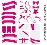 Pink Ribbon And Bow Set. Vecto...