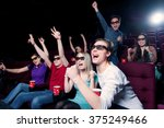 people in the cinema wearing 3d ... | Shutterstock . vector #375249466