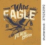 vintage college eagle print.... | Shutterstock .eps vector #375252592