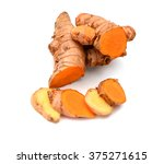 turmeric roots on white... | Shutterstock . vector #375271615