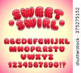 funny sweet font  vector red... | Shutterstock .eps vector #375275152