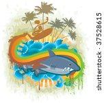 shark kingdom. vector. | Shutterstock .eps vector #37528615