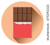 chocolate flat icon with long... | Shutterstock .eps vector #375292222