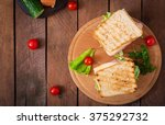 club sandwich with cheese ... | Shutterstock . vector #375292732