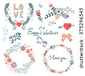 happy valentines day elegant... | Shutterstock .eps vector #375296545