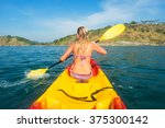 woman exploring calm tropical... | Shutterstock . vector #375300142