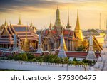 grand palace and wat phra keaw... | Shutterstock . vector #375300475