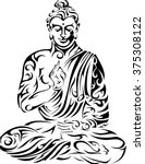 buddha   tribal buddha   seated ... | Shutterstock .eps vector #375308122