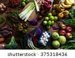 spring vegetables and fruits | Shutterstock . vector #375318436