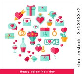 happy valentine day icons set... | Shutterstock .eps vector #375343372