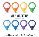 vector map markers rainbow... | Shutterstock .eps vector #375364672