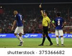 Small photo of NONTHABURI-THAILAND FEB2:Unidentified referee show yellow card AFC Champions League2016 between Muangthong Utd - Johor Darul Ta'zim at SCG Stadium on February2,2016 in Nonthaburi,Thailand