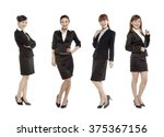 four women dress in suit | Shutterstock . vector #375367156