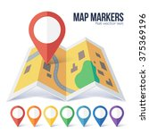red vector map point marker on... | Shutterstock .eps vector #375369196