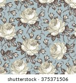 roses. seamless classic pattern.... | Shutterstock .eps vector #375371506