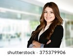 confident businesswoman who is... | Shutterstock . vector #375379906