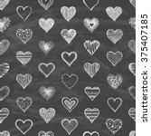 set of hearts on the blackboard.... | Shutterstock .eps vector #375407185