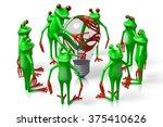 3d cartoon frogs and a... | Shutterstock . vector #375410626