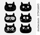 cute black cat head set. funny... | Shutterstock . vector #375416845