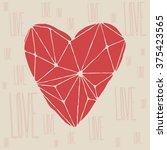 polygonal love heart background.... | Shutterstock .eps vector #375423565