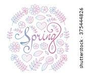 spring lettering in floral...   Shutterstock .eps vector #375444826
