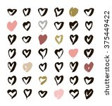heart icons set  hand drawn... | Shutterstock .eps vector #375449422