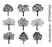 set of black trees and leafs.... | Shutterstock .eps vector #375469462