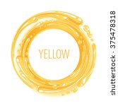 yellow color ink circle splash... | Shutterstock .eps vector #375478318