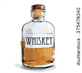 hand draw of whiskey bottle.... | Shutterstock .eps vector #375478342