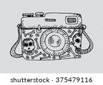 retro camera with skull and... | Shutterstock .eps vector #375479116
