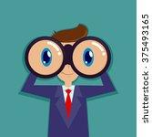 businessman looking through... | Shutterstock .eps vector #375493165
