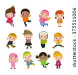 group of kids collection | Shutterstock .eps vector #375511006
